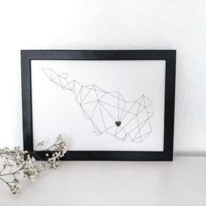 Artprint mit Bremen-Silhouette und Herz-Aufkleber
