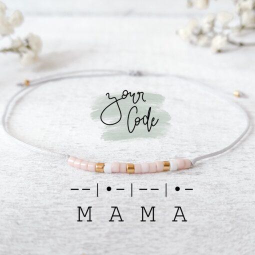 "Morsecode-Perlenarmband mit Wunschbegriff ""Mama"""