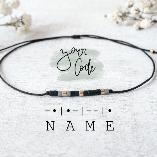 Personalisiertes Morsecode-Armband mit Wunschbegriff