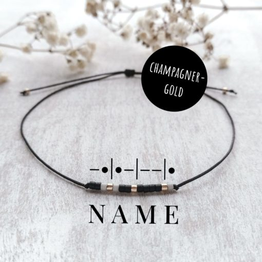 Morsecodearmband champagner-gold