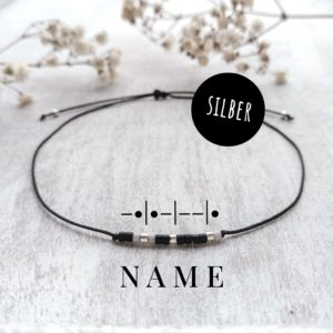 Morsecodearmband silber